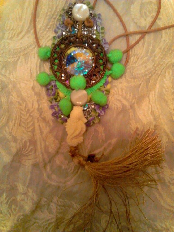 Sea horse amazing gypsy necklace with swarovski large swarovski stone by boutiqueofsandals on Etsy