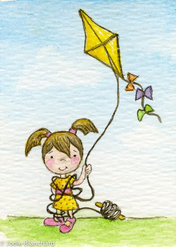 """Original kite painting, whimsical girl ACEO, Watercolour """"Flying a Kite"""". $12.00, via Etsy."""