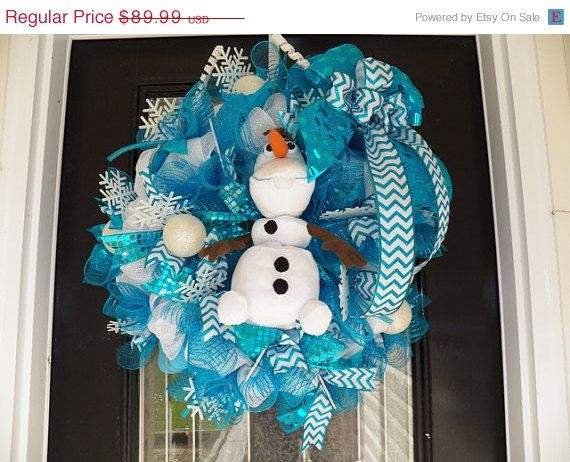 Christmas In July Sale Frozen Wreath with Olaf, Frozen Decoration, Frozen Room Decoration, Door Hanger on Etsy, $76.49