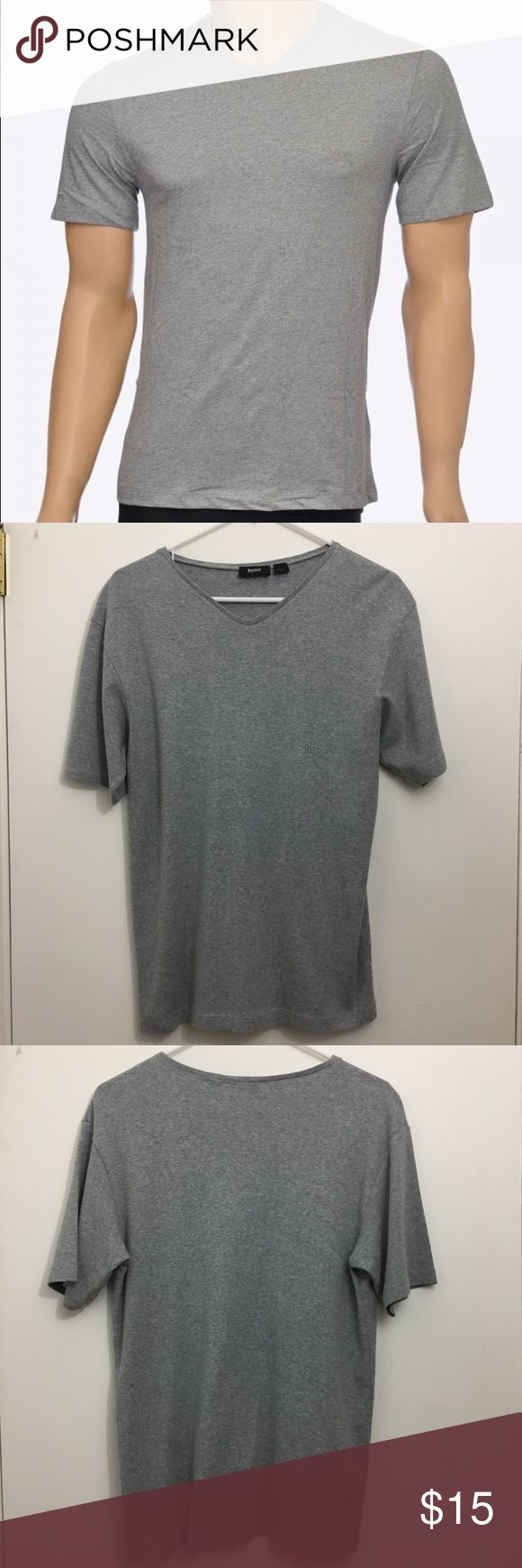 Hugo Boss Mens Grey Loungwear V-Neck T-Sirt