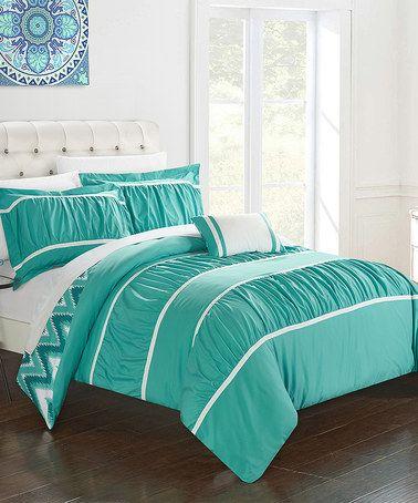 Turquoise Leighton Comforter Set #zulily #zulilyfinds