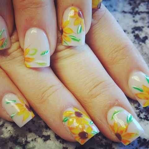 Sunflower Nail Art Ideas for the Spring Summer - 25+ Unique Sunflower Nail Art Ideas On Pinterest Sunflower Nails
