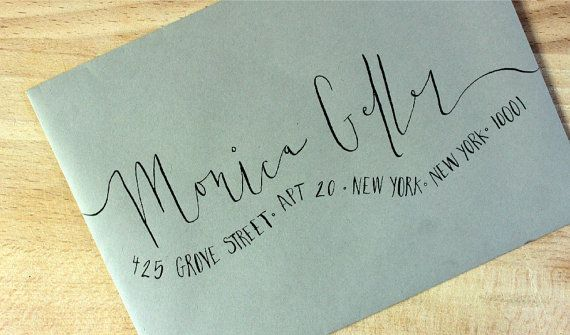handwritten wedding invitation envelopes - wavy calligraphy,