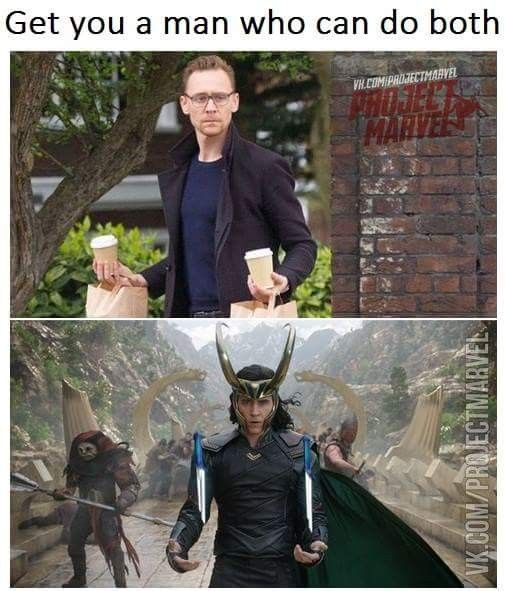 I'm saving this because I find his expression in the fist one so funny, especially in comparison to the second.  I think Tom is taking the food and drinks more seriously than Loki and his knives.