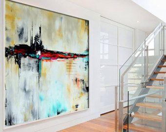 Großen Spachtel Malerei auf Leinwand von ModernArtHomeDecor auf Etsy