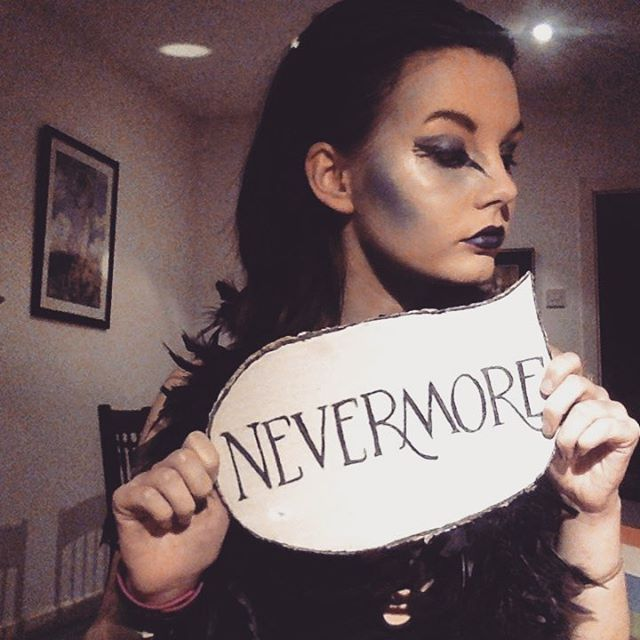 Quoth the raven... #halloween #costume #halloweencostume #edgarallanpoe #raven #englishlit #makeup #nevermore #bookstagram