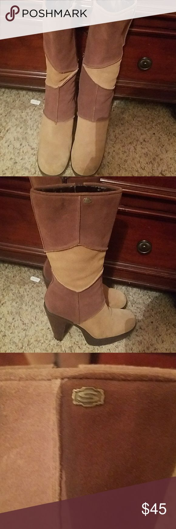 "Adorable brown & tan Sketcher boots. These are super cute, and in excellent condition. They are Brown & tan Sketcher boots, suede, & have 3.5"" hills. Skechers Shoes Heeled Boots"