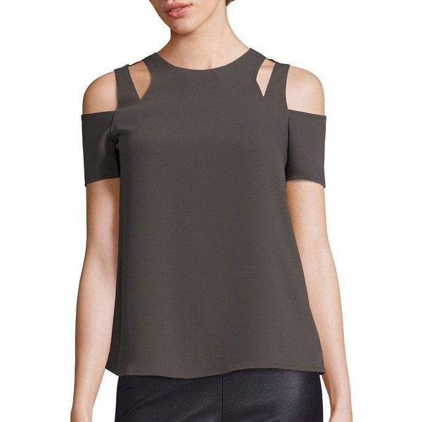 Cooper & Ella Padma Cold-Shoulder Top ($140) ❤ liked on Polyvore featuring tops, apparel & accessories, cut-out shoulder tops, cut out shoulder top, open shoulder top, short sleeve tops and cut-out tops