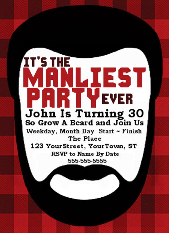manly beard bash custom party invitation by kaycscreations on etsy