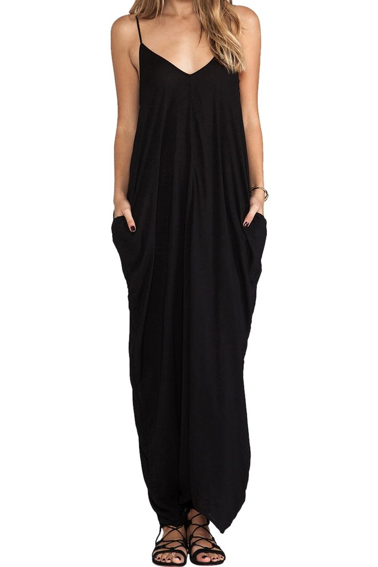 Spaghetti Strap Loose-Fitting Maxi Dress BLACK: Maxi Dresses | ZAFUL