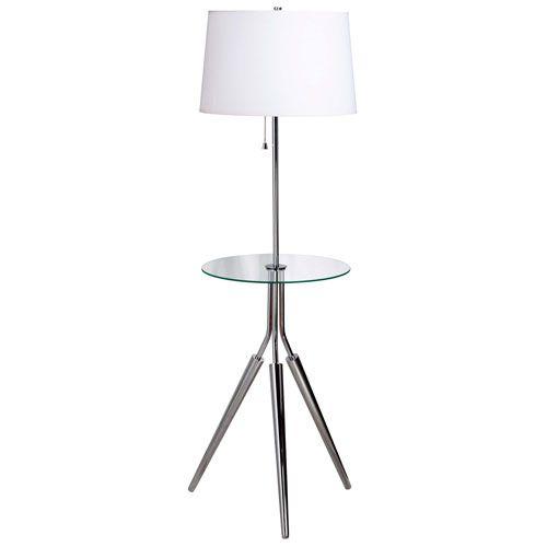 Rosie Chrome Floor Lamp W/ Glass Tray Kenroy Home Floor Lamp With Table Floor Lamps Lamps