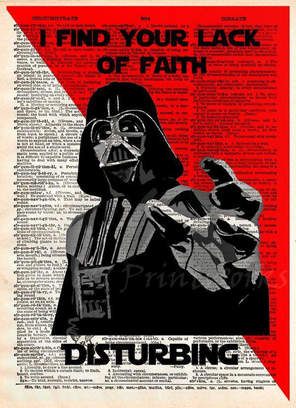Star Wars, Darth Vader pop art, Lack of faith, Dictionary print art