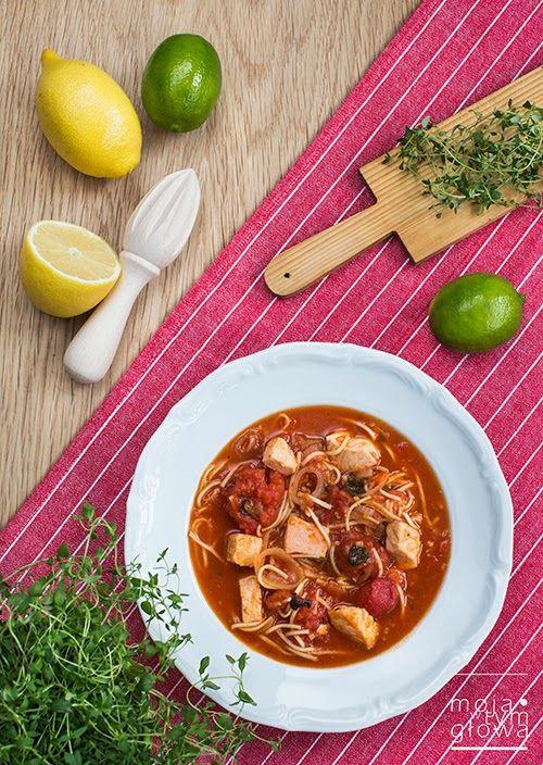 moja w tym głowa: zupa pomidorowo-cytrynowa z łososiem i makaronem