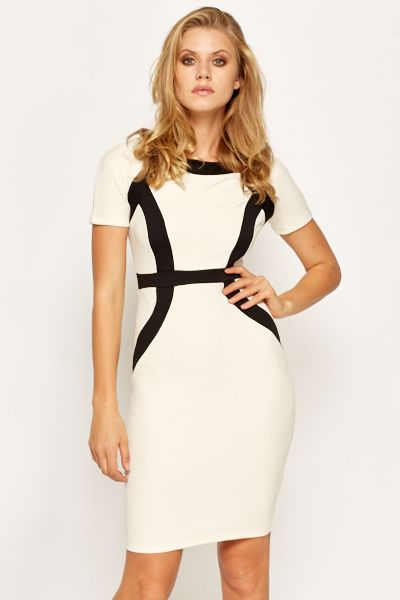 Mono Pattern Bodycon Dress