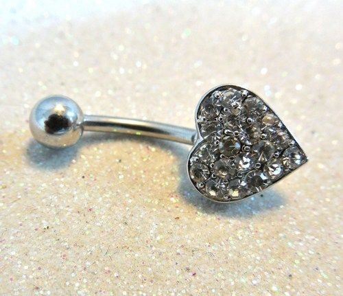 Belly ring, belly piercing ring with cute and tiny crystal heart 14ga | YOUniqueDZigns - Jewelry on ArtFire @AnnieK3ll3r