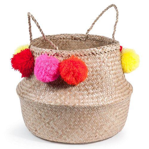 www.kidsmopolitan.com Maison du Monde. Cesta tailandesa con pompones de fibra vegetal D. 40 cm