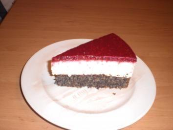 Mohn-Topfen-Torte mit Himbeerspiegel - Rezept