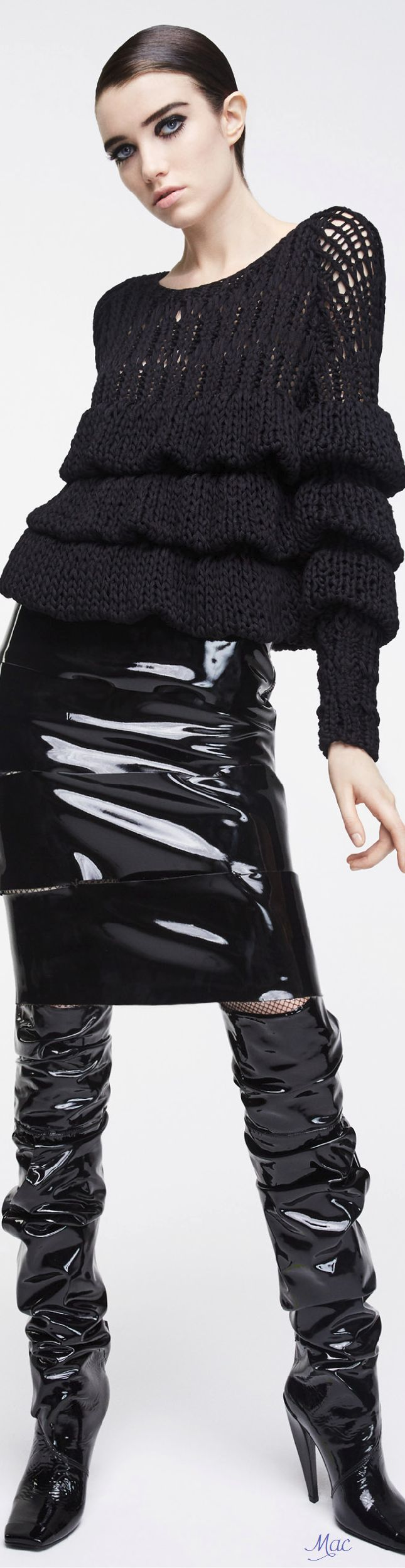 Tom Ford F-17 RTW: ruffled sweater, patent leather skirt & boots.