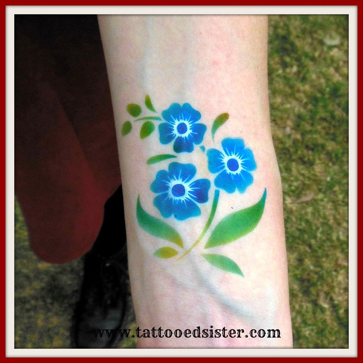 pretty blossom airbrush tattoo in blue