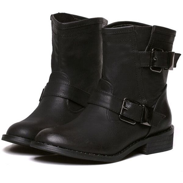 Black Low Heel Buckle Strap Boots ($38) ❤ liked on Polyvore featuring shoes, boots, ankle booties, botas, black, short boots, round toe booties, black ankle booties, kohl boots and short booties