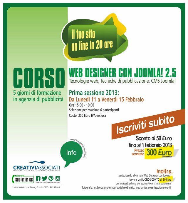 Corso in Web Designer con Joomla! 2.5  http://on.fb.me/VmCk9K #creativiassociati