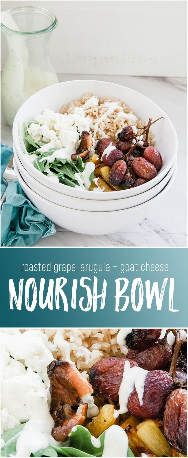 Roasted Grape, Arugula and Goat Cheese Nourish Bowl - A delicious and healthy bowl with creamy dressing looks as good as it tastes. This healthy Buddha bowl is a great clean eating lunch or dinner!