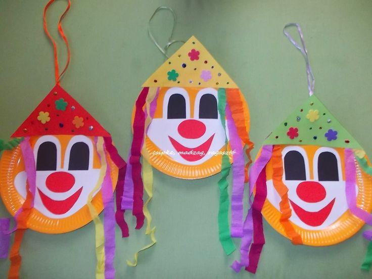 Csipke, madzag, ragasztó: farsangi dekoráció, bohócok
