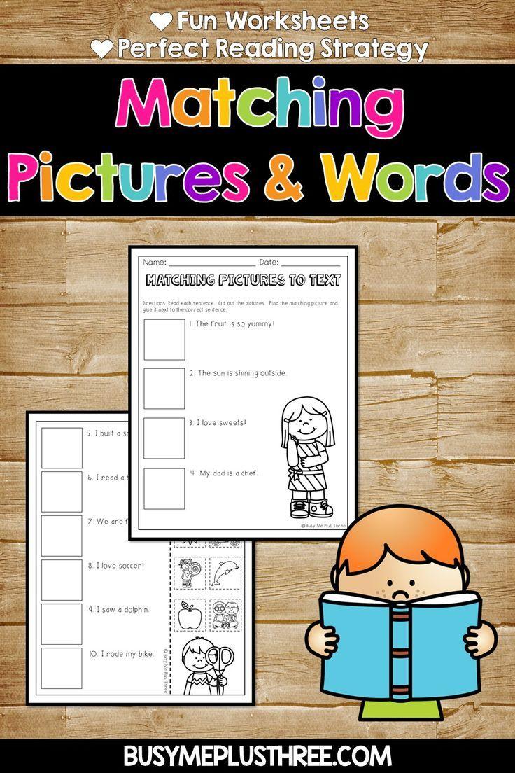 Fun Matching Pictures Words Worksheets Kindergarten And First Grade Fun Classroom Activities Reading Strategies Fun Worksheets