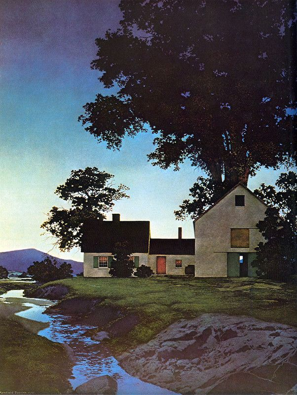 Maxfield Parrish >> Twilight: Art Inspiration, Illustrations Landscape, Maxfield Parrish, Twilight 1935, Barns Doors, Parrish Twilight, Favorite Paintings, Artists Expressions, Artsy Side