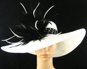 BLANC Derby Hat, chapeau de Derby du Kentucky avec bande du chapeau à pois, robe chapeau, chapeau mariage, chapeau à large bord, Tea Party Hat, chapeau d'Ascot