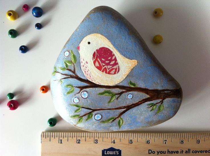 Mixed Media Spring Bird Stone. $25.00, via Etsy.