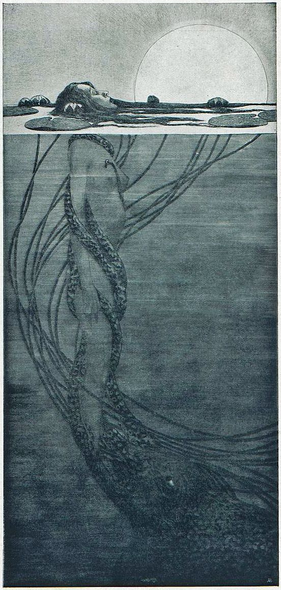 Fritz Hegenbart (Austrian, 1864-1943) Art and Mammon, Jugend, circa 1902 The beautiful naiad struggles to breathe in the light of day. Monstrous, greedy Mammon entwines her, attempting to drag her to his dark, watery lair.