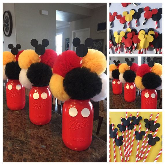 Mickey Mouse Inspired Birthday Centerpieces!  THIS LISTING INCLUDES: (ONE) MASON JAR CENTERPIECE with Mickey Mouse Embellishments  MASON JAR CENTERPIECES What can I say? These are adorable, period. They are little puff balls of cuteness overload! After planning a party for one of my friends I realized that flowers would last only a couple of days but these little puffs would last forever!  ABOUT THE JARS! Centerpieces are made in Quart size mason jars. Each jar is painted and sealed before…