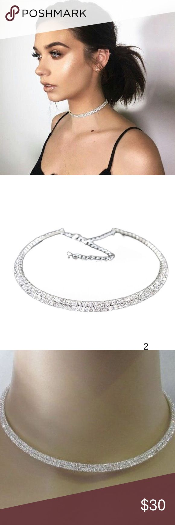 """Diamond Rhinestone Choker Necklace COMING SOON!!!! COMMENT BELOW TO SECURE YOURS TODAY  Two-layer Diamond Rhinestones • Silver coated hardware • Size (Diameter):4.7"""" (approx 12cm) • Adjustable hook Clasp • Affordable Luxury • (As seen on Bella + Gigi Hadid, Kim Kardashian, Kylie + Kendall Jenner, and many more celebrities ** Not Nasty Gal) Nasty Gal Jewelry Necklaces"""