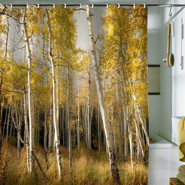 des bouleaux dorés, un rideau de douche original