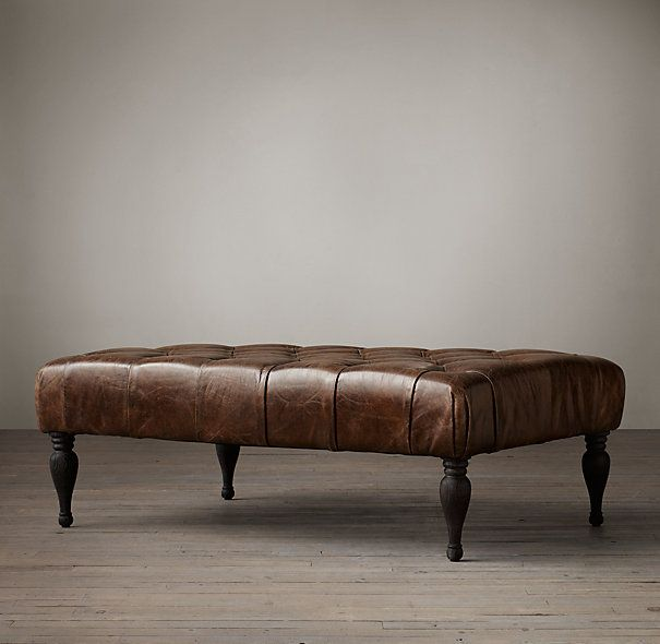 Restoration Bennett Rectangular Leather Ottoman-Used as coffee table - 25+ Best Ideas About Leather Coffee Table On Pinterest