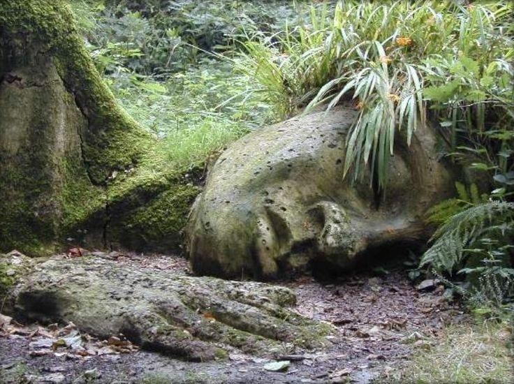Dramatische Skulpturen verwachsen mit immergrünen Pflanzen
