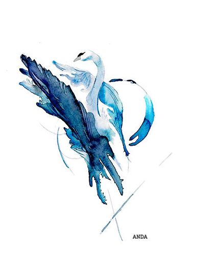 Watercolor and ink art, abstract swan; painting or tattoo design by Larissa van der Laan, ANDA Design Store on ETSY