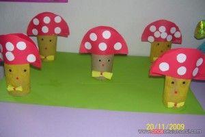 toilet paper roll mushroom craft