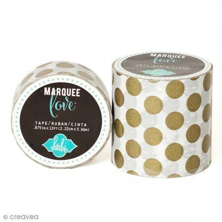 Masking tape large Marquee Love - Blanc à pois dorés