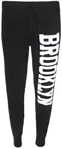 WearAll - Damen Lässig Jogging hose trainingshose Brooklyn Druck - 4 Farben - Größe 36-42