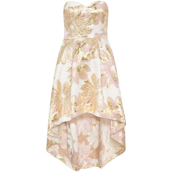 CHI CHI Curve Gold / Cream Plus Size Shimmering jacquar cocktail dress ($125) ❤ liked on Polyvore featuring dresses, gold, plus size, women plus size dresses, floral dresses, pink cocktail dress, high low dresses and plus size a line dresses