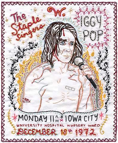 iggy pop embroidered portrait by jenny hart.