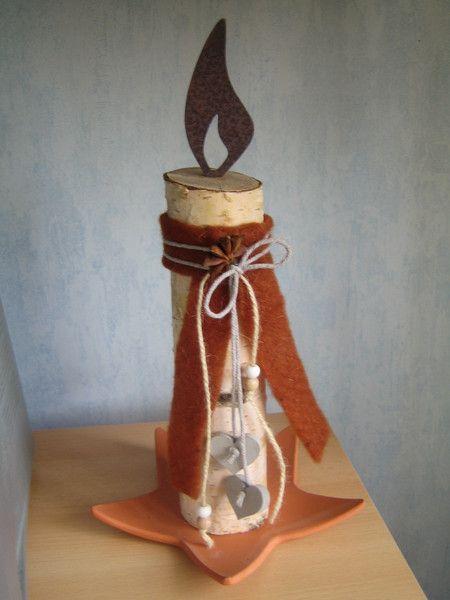 Weihnachtsdeko - Kerze,Edelrost,Birke,Deko,Weihnachten,Geschenk - ein Designerstück von Dekoby-Jutta bei DaWanda