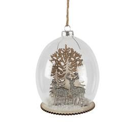 Snowy Stag and Forrest Scene Christmas Tree Bauble