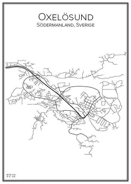 Oxelösund. Sverige. Karta. City print. Print. Affisch. Tavla. Tryck.