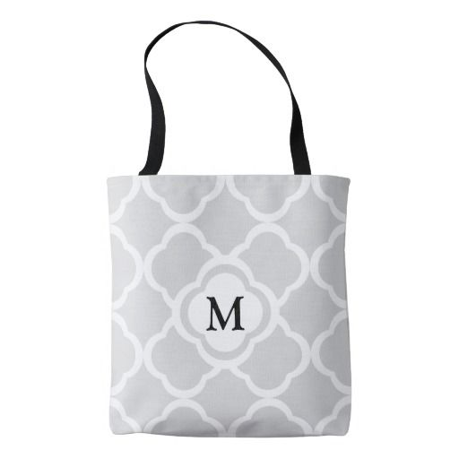 Gray Floral Quatrefoil Pattern With Monogram Shopping Tote Bag