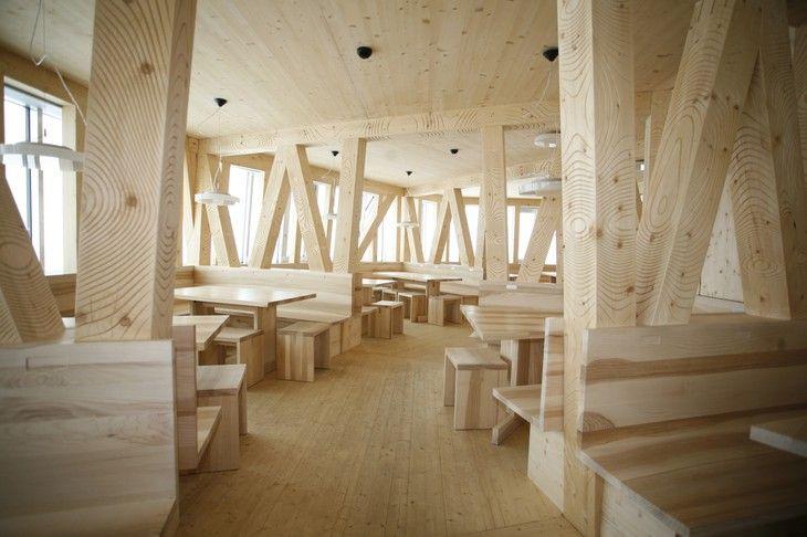 The New Monte Rosa Hut wooden restaurant