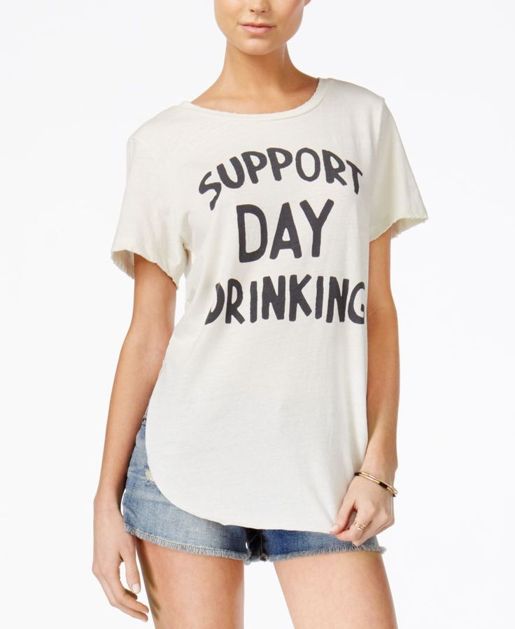 Junk Food Support Day Drinking Cotton Graphic T-Shirt