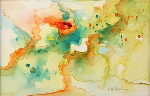 Original watercolor abstract painting, yellow, turquoise, olive green,orange and red by Victoria Kloch, Color Spot 016
